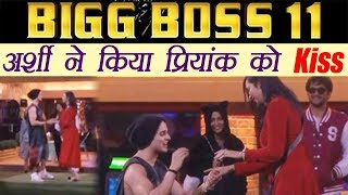 Bigg Boss 11: Arshi Khan kisses Priyank Sharma as he gifts her a ring on his knees | FilmiBeat