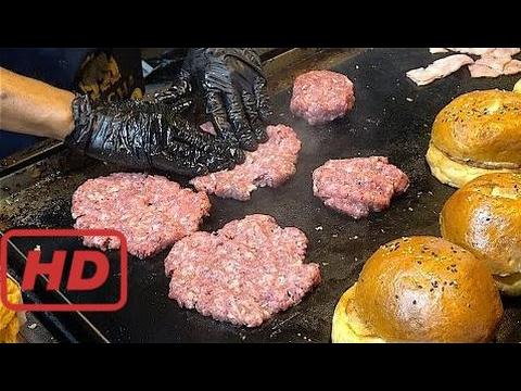 Special HAMBURGERS - Beef, Bacon, Cheese, Chips, Calamari burgers | American Street Food from  #MOA