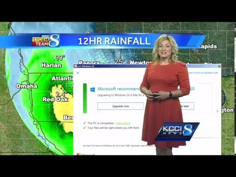 Windows 10 Upgrade Fail - KCCI meteorologist gets upgrade surprise on live TV