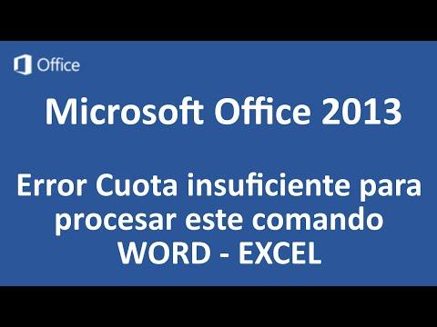 Microsoft Office 2013 | Error Cuota insuficiente para procesar este comando | HD 1080p