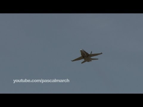 CF-18 Hornet fighter jet flying over Montreal Grand Prix 2014