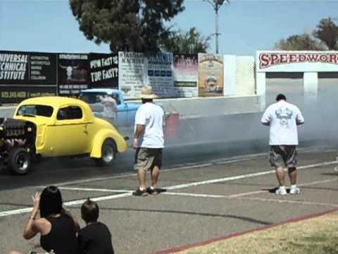 1936 buick straight 8 drag racing howard intake headers - YouTube