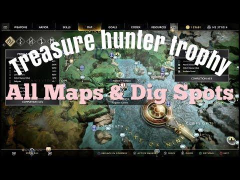 God of war (Treasure Hunter Trophy) 12 Map's & Dig Spots!!!
