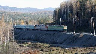 ЧС7 199 с поездом № 84 на перегоне Златоуст - Уржумка Южно-Уральской ж.д.