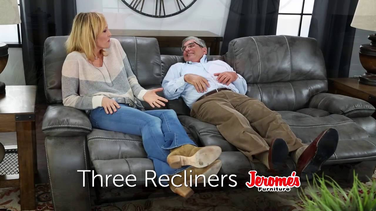 triple reclining sofa faux leather recliner sofas jerome s furniture trio youtube