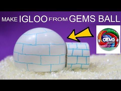 MAKE IGLOO FROM GEMS BALL   MAKE IGLOO   IGLOO PROJECT   IGLOO MODEL   TYPES OF HOUSES   DIY IGLOO
