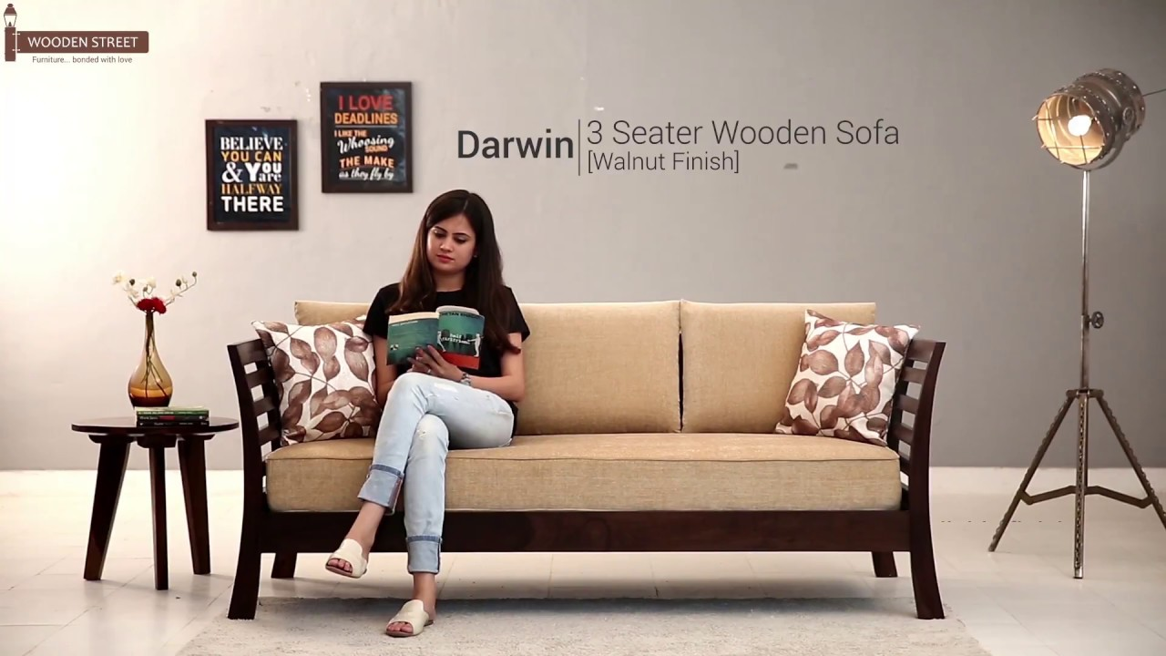 Wooden Sofa  Buy Darwin 3 Seater Sofa In Walnut Finish Online From Wooden  Street