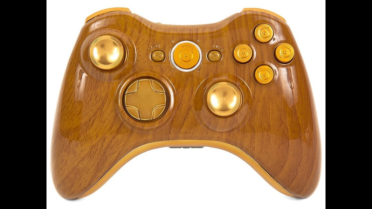 HUNTER Custom Xbox 360 Modded Controller Woodgrain Bullet