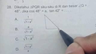Prediksi UJian Nasional Matematika 12SMA IPS 2017 No.28-Perbandingan Trigonometri