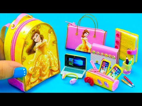 DIY Miniature Belle School Supplies ~ Backpack, Glitter Pen, Pencil Case