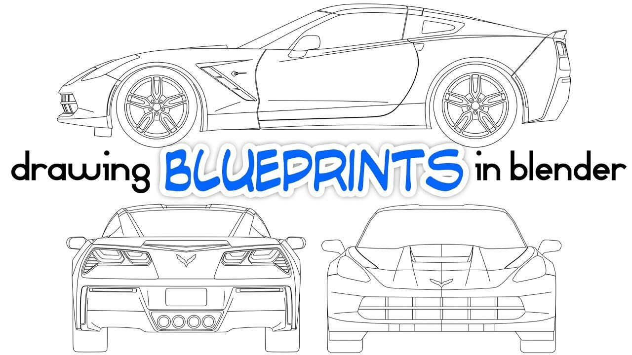Drawing Car Blueprints Using Blender - YouTube