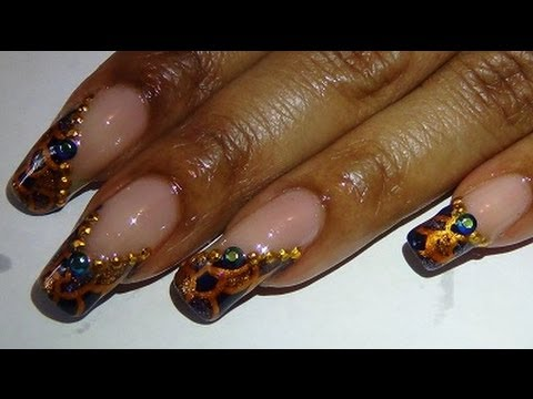 Navy Blue Gold Toe Nail Art Design Youtube
