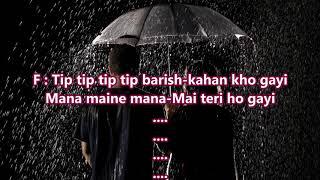 Tip tip tip tip barish shuru ho gayi - Afsana Pyar Ka - Full Karaoke Scrolling Lyrics