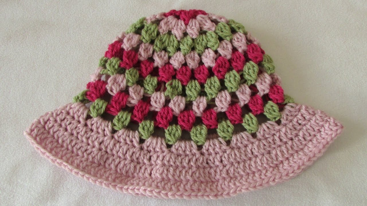 88594d199ea How to crochet a pretty baby   children s sun hat - summer hat tutorial