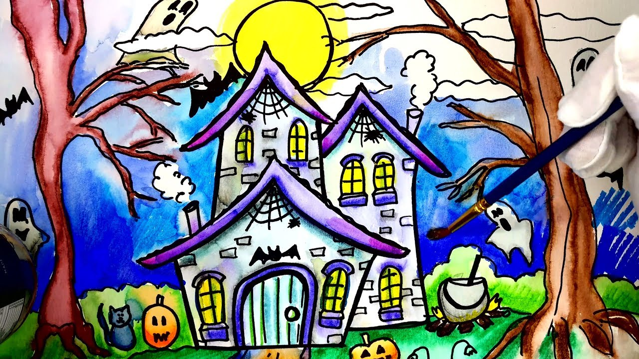 Painting Witch House Halloween Painting Pages for Kids Learn to ...