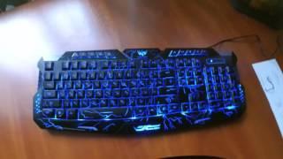 русская Версия Красный/Фиолетовый/Голубой Подсветкой LED Pro M200 USB Проводной Игровой Клавиатуры