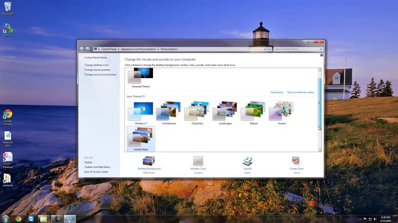 how to change the desktop background to default