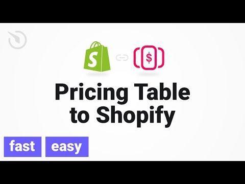 How to add Pricing Table app to a Shopify store (2018)