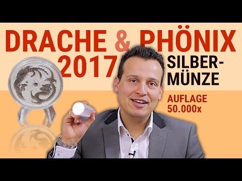 SILBERMÜNZE Drache & Phönix 2017 - Limitierte Auflage: 50.000 Stück - 1 Unze Silber - Perth Mint
