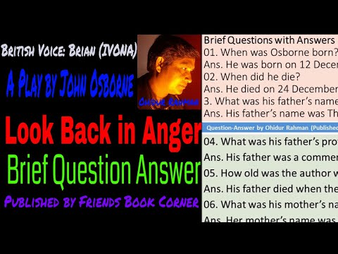 Look Back in Anger | Brief Question Answer | Play by John Osborne