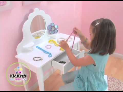 coiffeuse blanche pour enfant kidkraft youtube. Black Bedroom Furniture Sets. Home Design Ideas