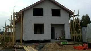 Видео экскурсия по строящемуся коттеджу, загородному дому из газобетона.(СК