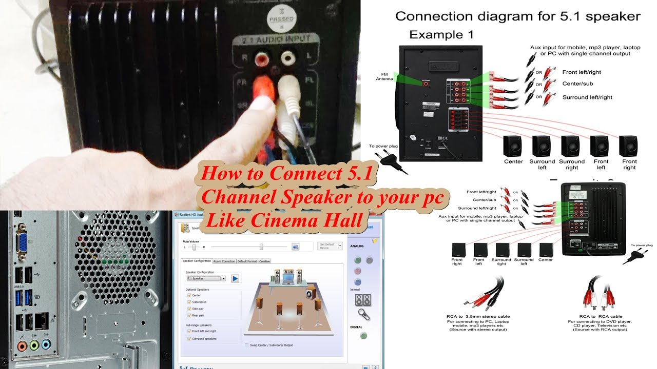 how to connect 5 1 channel speaker to your pc like cinema hall [ 1280 x 720 Pixel ]