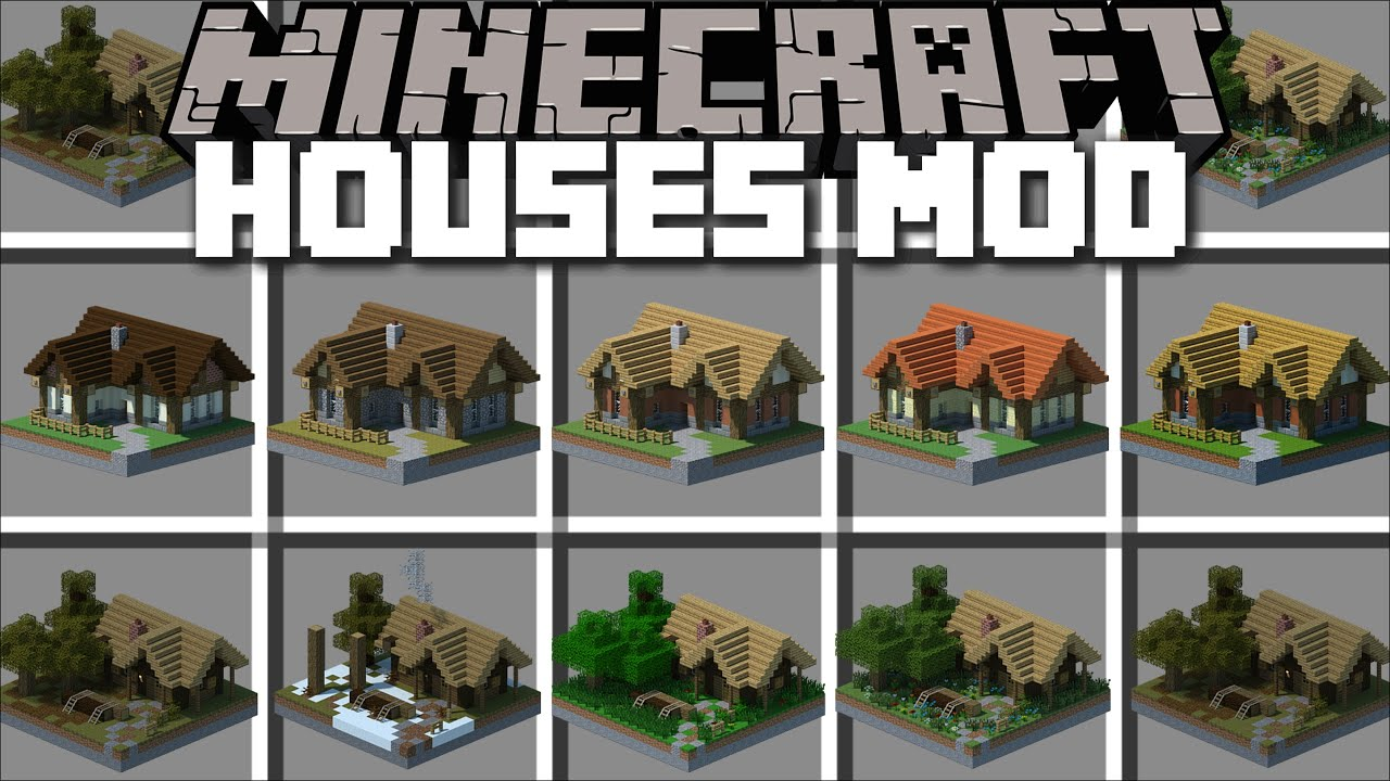 Minecraft INSTANT HOUSES MOD / SPAWN HUGE STRUCTURES TO CREATURE A VILLAGE !! Minecraft Mods