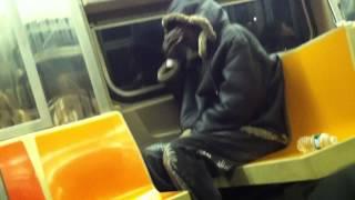 homeless guy smoking weed on the nyc subway