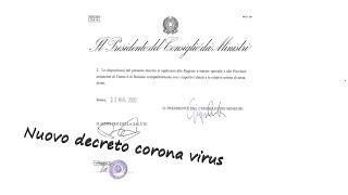 Coronavirus, Nuovo Decreto Corona Virus | Decreto 21 Marzo 2020