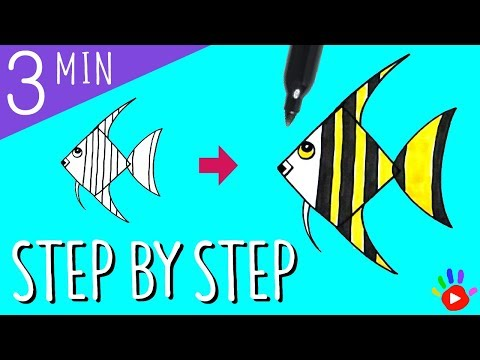 How To Draw An Angel Fish | Drawing Tropical Fish | Drawing Coloring Tutorial For Kids | OKIDOKIDS