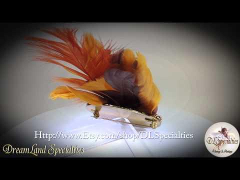 Unique Vintage Turkey Brooch Feather Jewelry