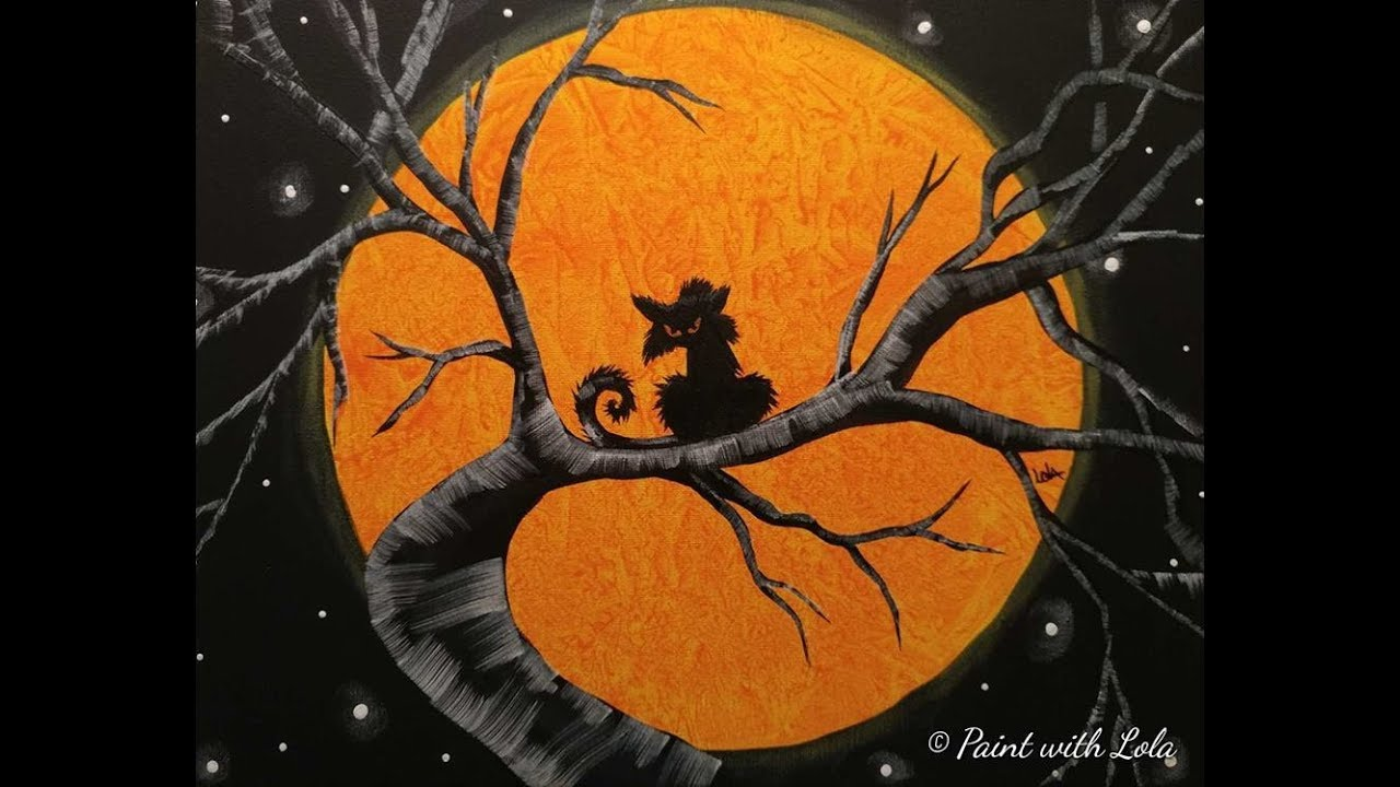 Hallo Halloween Decoraties : Step by step halloween art on canvas youtube