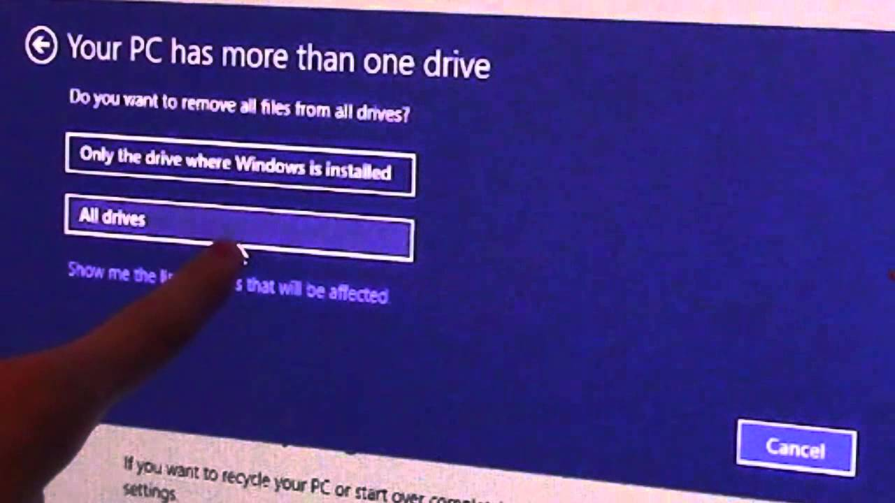 how to cancel a factory reset windows 8