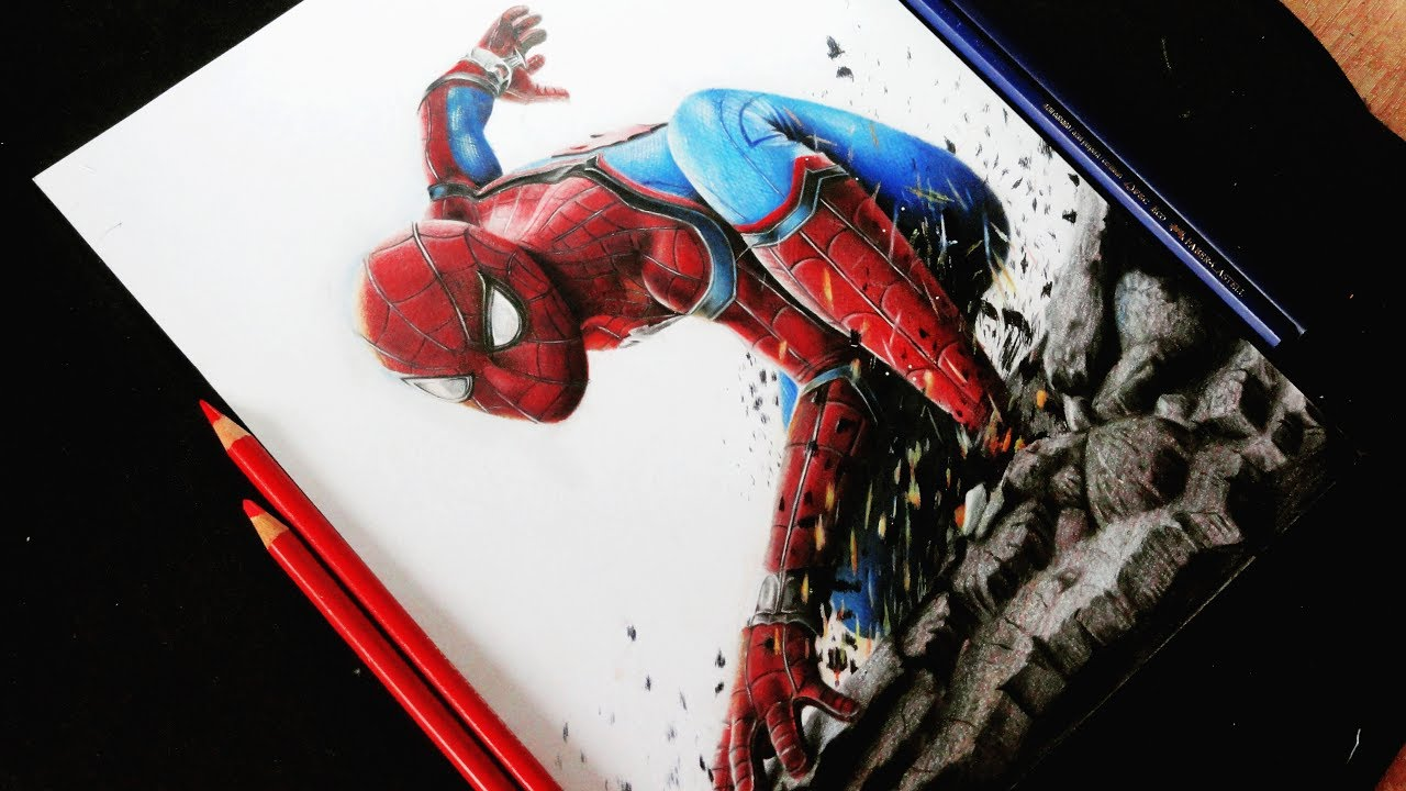 Como dibujo a SpiderMan HOMECOMING Realista l How To Draw