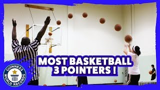 Most basketball three pointers in one minute - Guinness World Records