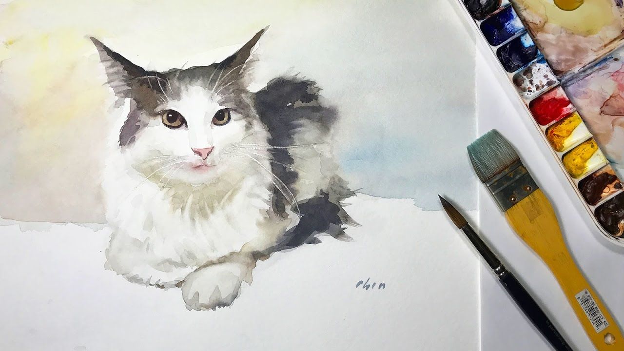 How to Paint a Watercolor Cat in a Window with a View