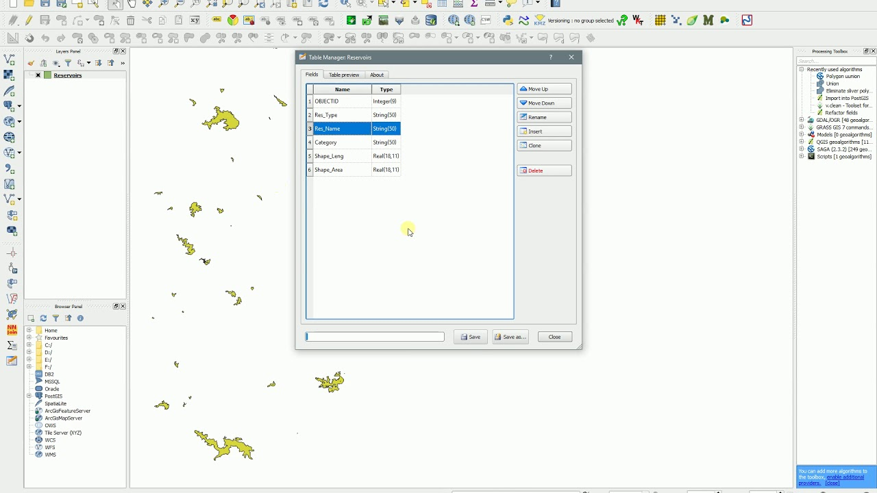 QGIS - Table Manager - Rename fields of shapefile attribute table