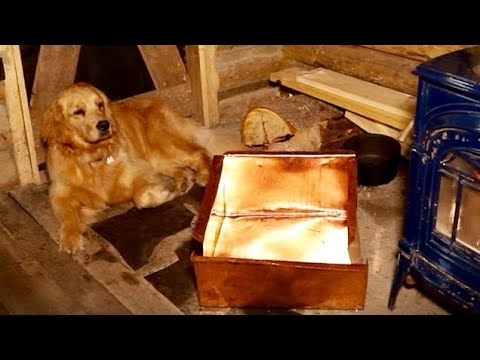 Off Grid Log Cabin in the Forest: DIY Rustic Wood Kitchen, Handmade Copper Sink