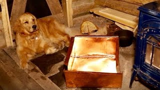 Handmade Copper Sink at the OFF GRID Log Cabin for a Rustic Wood Kitchen