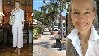 Vlog/Over 50: Cropped Pink Pants, White Button Up Shirt; Lunch 3rd St. S., Naples / Classic Fashion