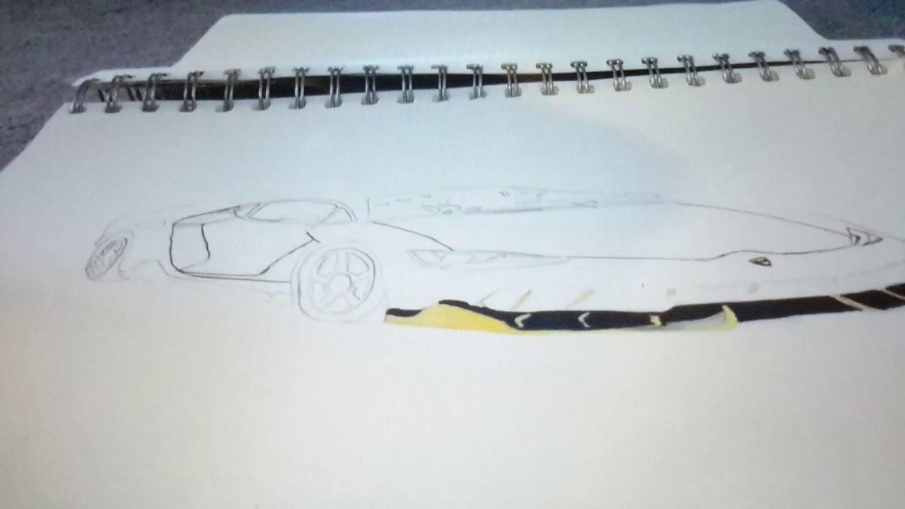 Car Drawing Lamborghini Centenario Lp770 4 Grey Youtube