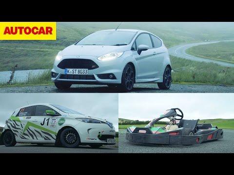 Ford Fiesta ST200 vs eRally Renault Zoe vs Go-kart | Autocar