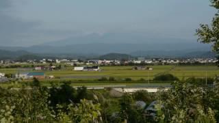Rice Field Panorama with Daisetsuzan at Kamikawa Hokkaido 比布大雪PA 大雪山と田園風景がきれいです。