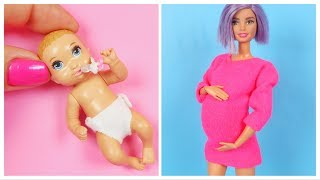 HOW TO MAKE BARBIE HACKS and CRAFTS ~ DIY New Mom Barbie, Newborn Baby Barbie, Miniature Doll Stuffs