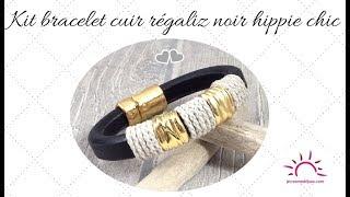Tuto bracelet cuir regaliz noir chanvre et perles plaque or