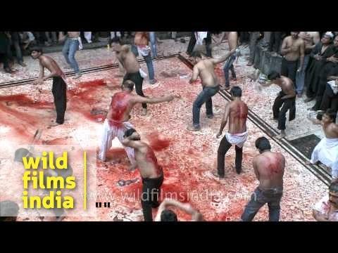 Self lashing until they bleed heavily - Shia Muslim men