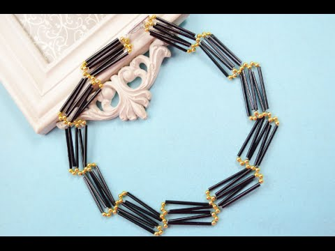 How To Make Ladder Shaped Black Glass Bead Necklace Patterns With Unique Bead Necklace Patterns