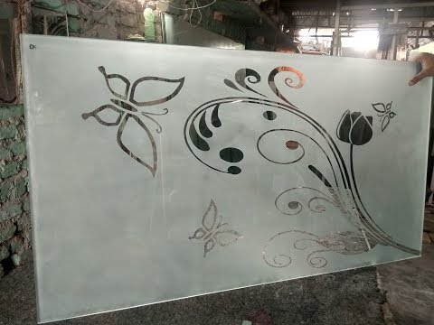 Etched glass Frosted glass design Etching || Sandblasting Glass design