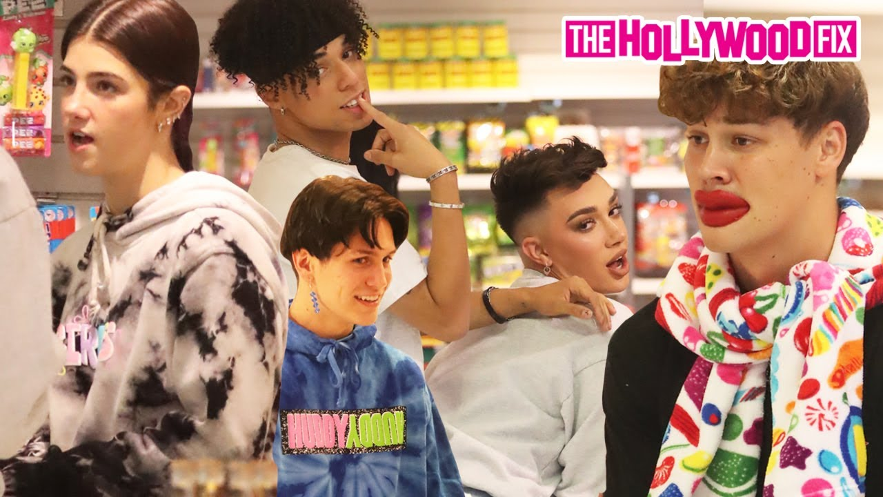 Charli D'Amelio, James Charles, Chase Hudson, Noah Beck & Larray Clown Around At Dylan's Candy Bar